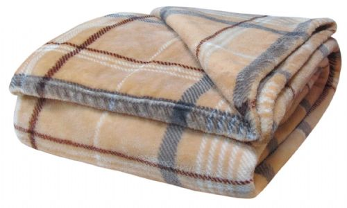 TARTAN CHECK LUXURY FLEECE SOFT WARM THICK PLUSH BLANKET NATURAL COLOUR 130CM X 180CM